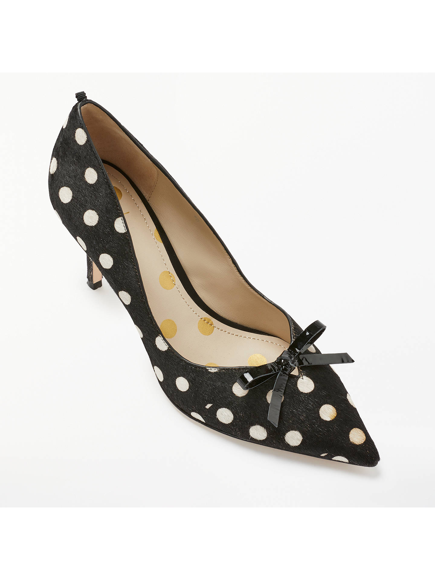BuyBoden Eleanor Spotted Bow Court Shoes, Black/White Leather, 4 Online at johnlewis.com