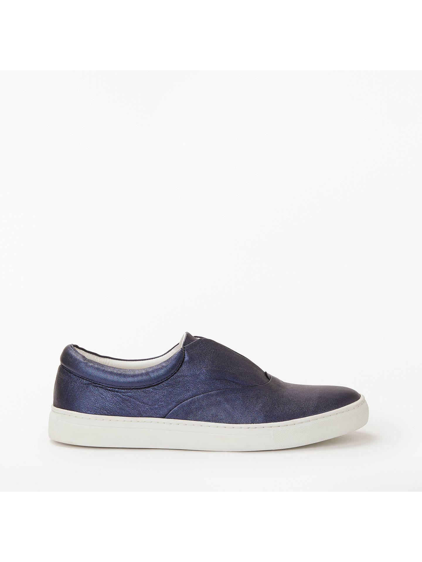 BuyBoden Metallic Slip On Trainers, Navy Leather, 4 Online at johnlewis.com
