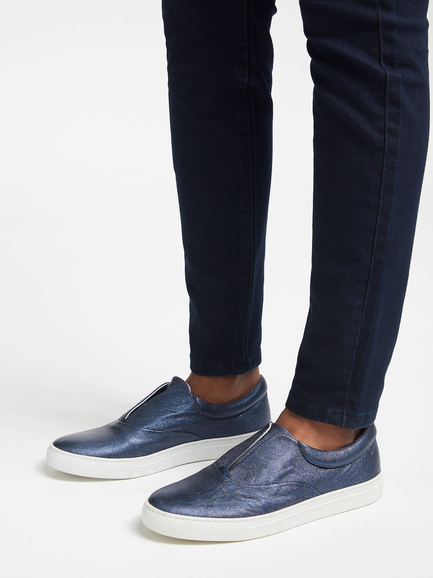 Buy Boden Metallic Slip On Trainers, Navy Leather, 4 Online at johnlewis.com