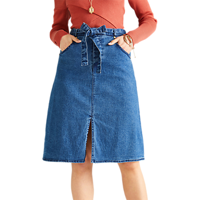 Yumi A-Line Denim Skirt, Navy