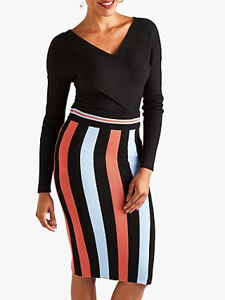 Yumi Striped Pencil Skirt, Black