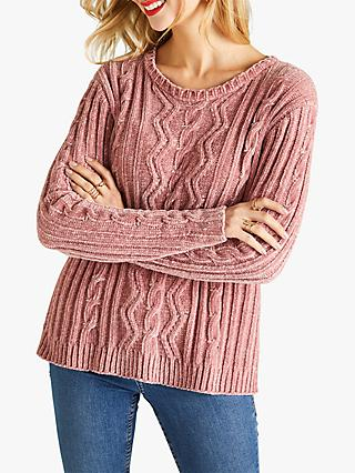 Yumi Chenille Cable Knit Jumper, Pale Pink