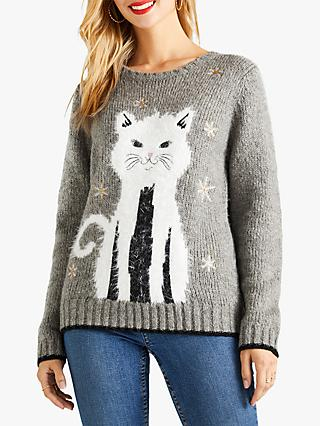 Yumi Cat Christmas Jumper, Grey