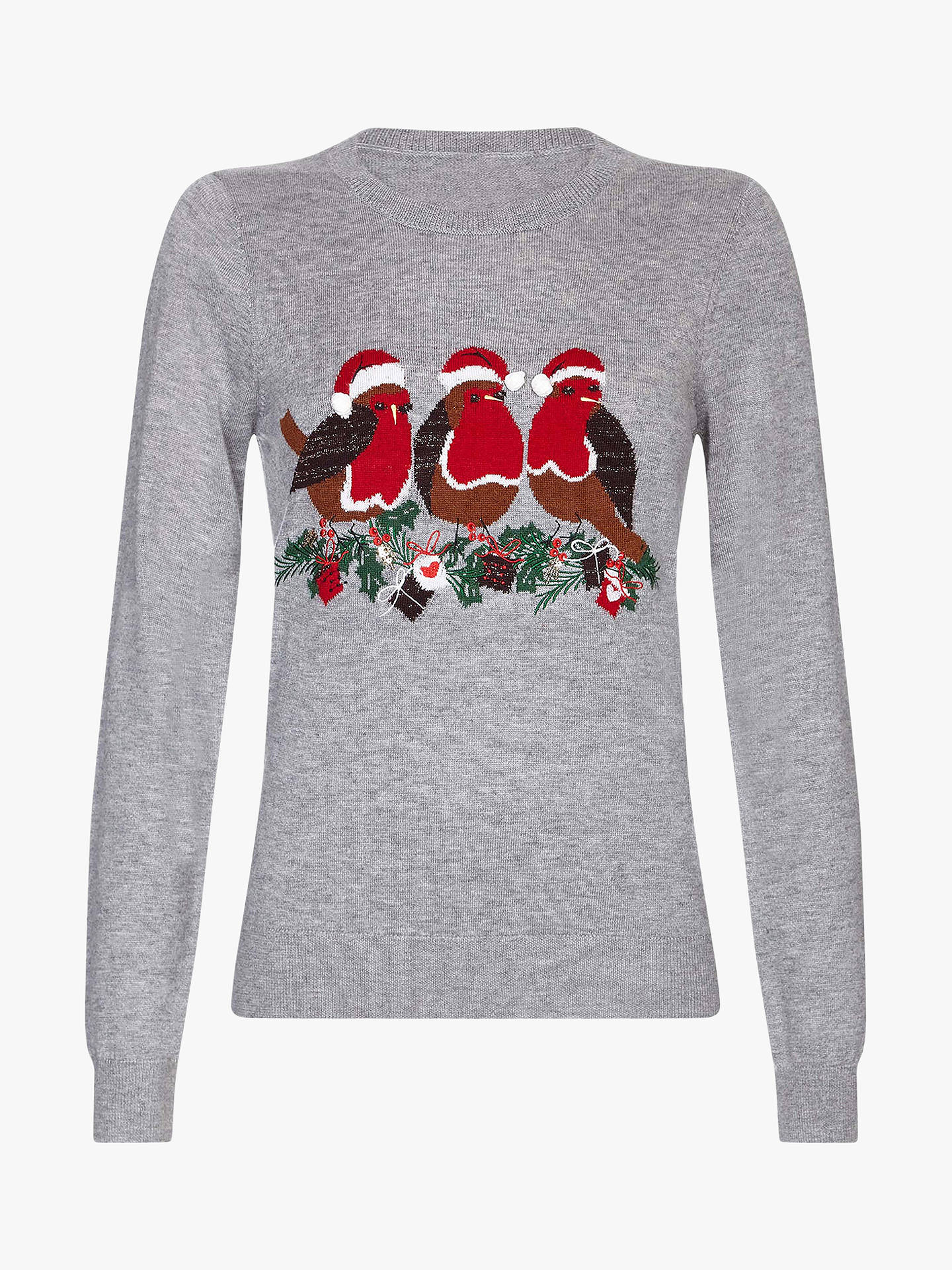 Buy Yumi Sequin Robin Christmas Jumper, Marl Grey, S Online at johnlewis.com