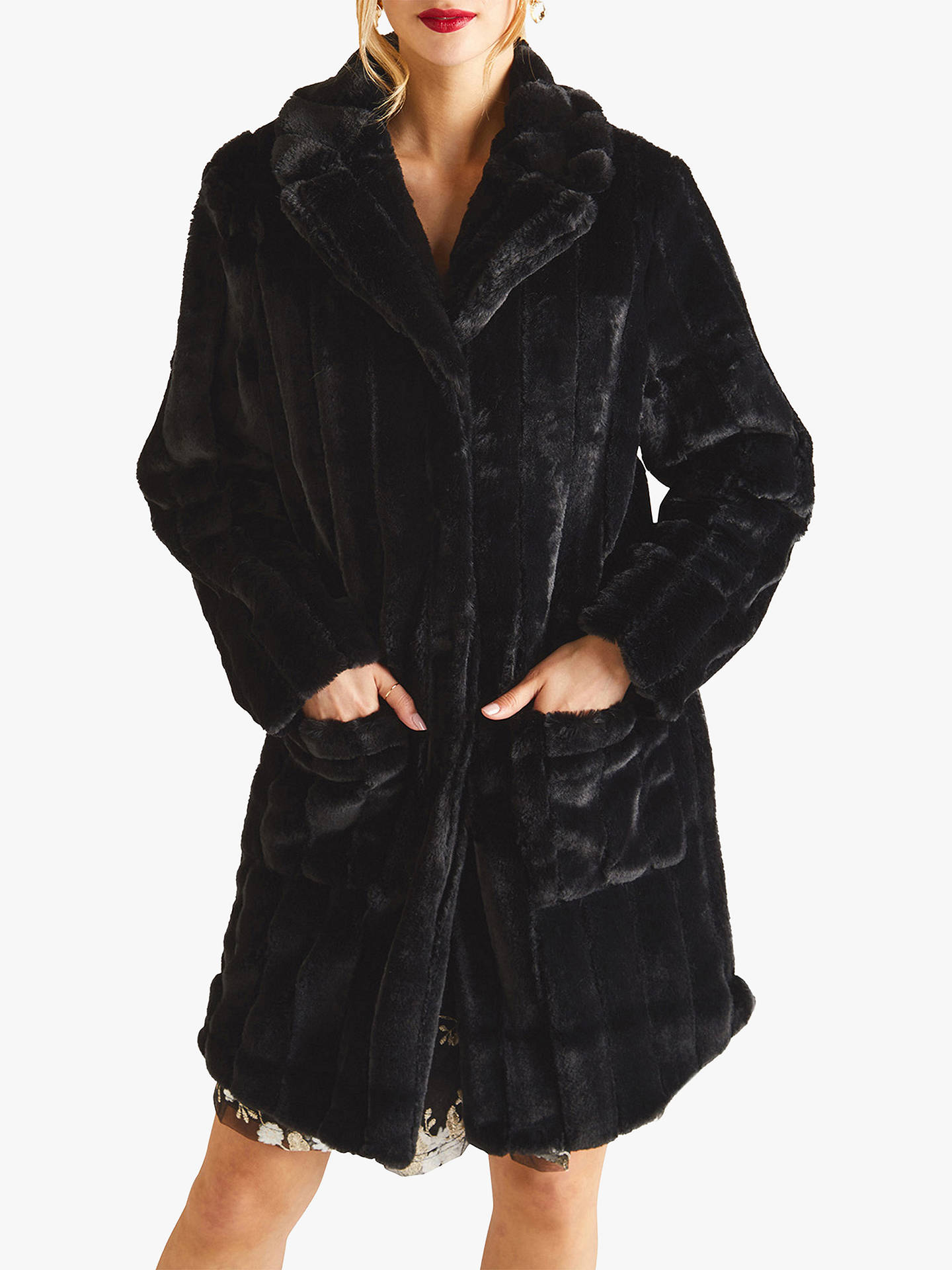 5d531a56d1 Buy Yumi Patch Pocket Faux Fur Coat, Black, 8 Online at johnlewis.com ...