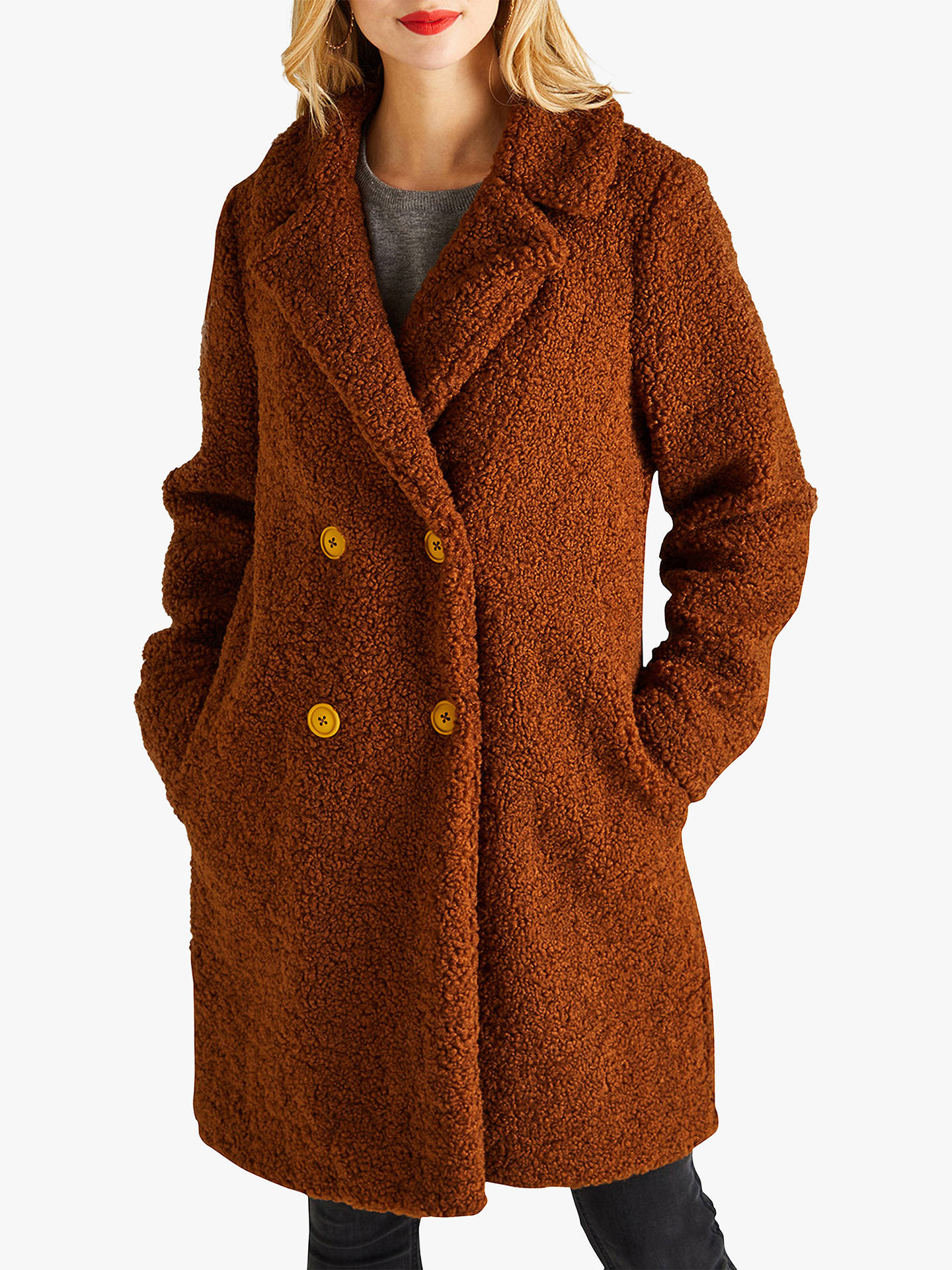 6fad0d8061 Buy Yumi Double Breasted Teddy Coat, Brown, 10 Online at johnlewis.com ...
