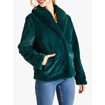 Yumi Cropped Faux Fur Coat, Green