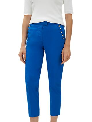 Jaeger Shank Button Chino Trousers, Blue/Bright