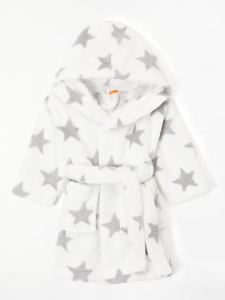 John Lewis & Partners Baby Star Dressing Gown, Cream/Grey