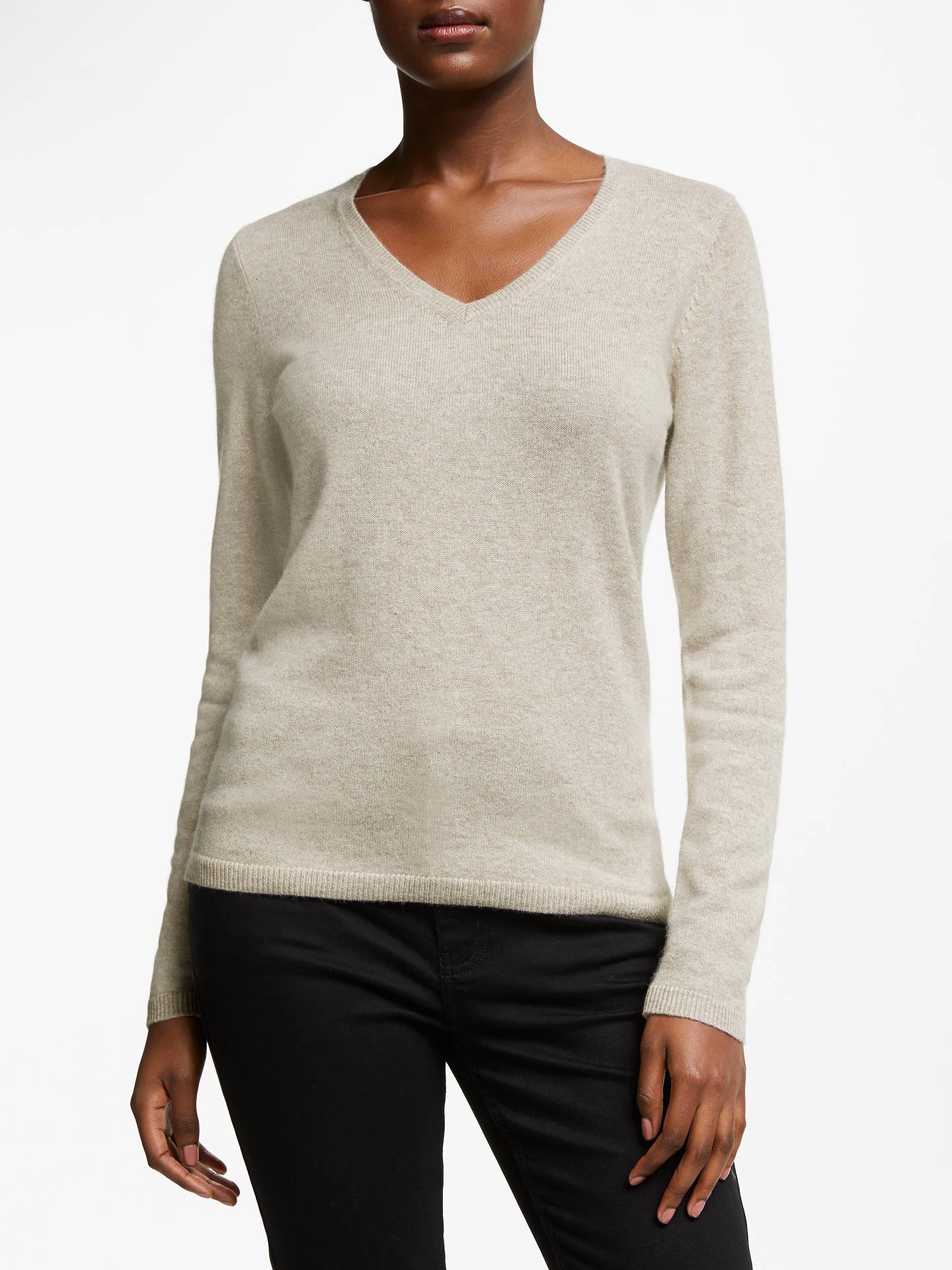 John Lewis & Partners Cashmere Rib Trim V Neck Sweater at