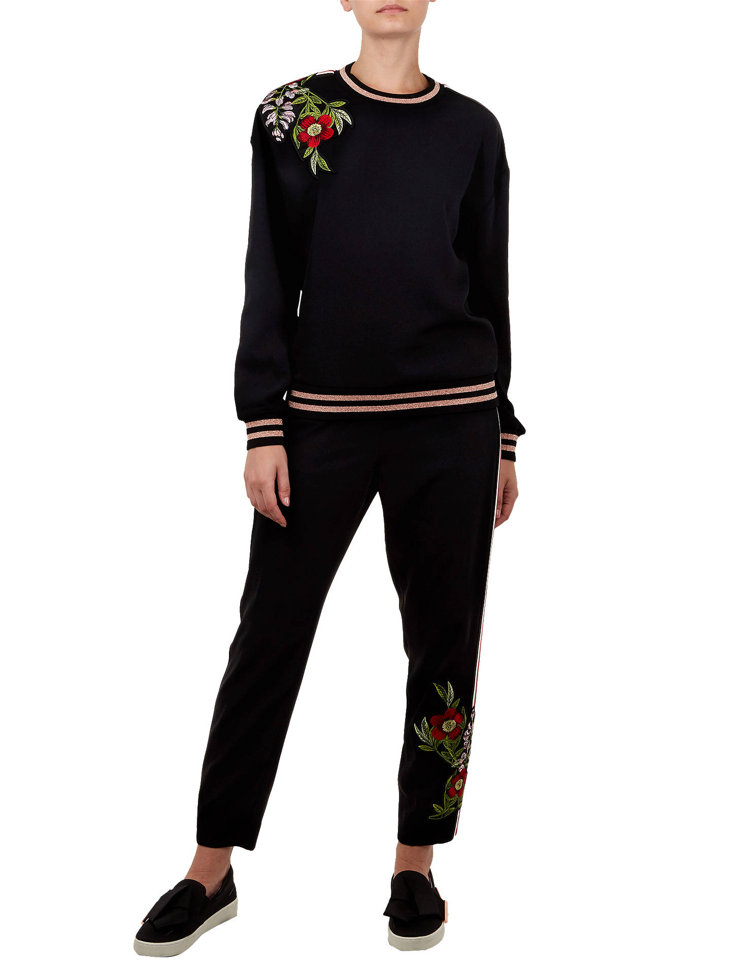 BuyTed Baker Maddeyy Embroidered Trim Jumper, Black, 3 Online at johnlewis.com