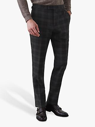 Reiss Trekker Brushed Check Trousers, Blue