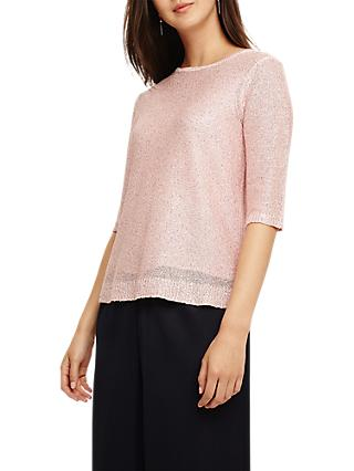 Phase Eight Caley Sequin Knit, Cameo