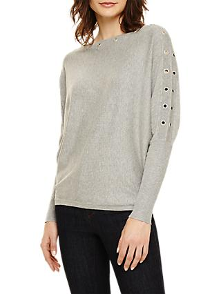 Phase Eight Esther Eyelet Batwing Knit, Grey Marl