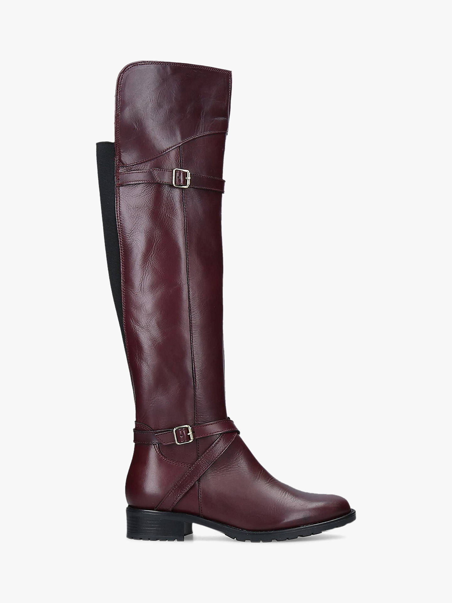 BuyCarvela Comfort Viv Knee High Boots, Red Leather, 6 Online at johnlewis.com