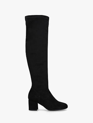 Buy Carvela Comfort Volt Knee High Boots, Black Suede, 3 Online at johnlewis.com