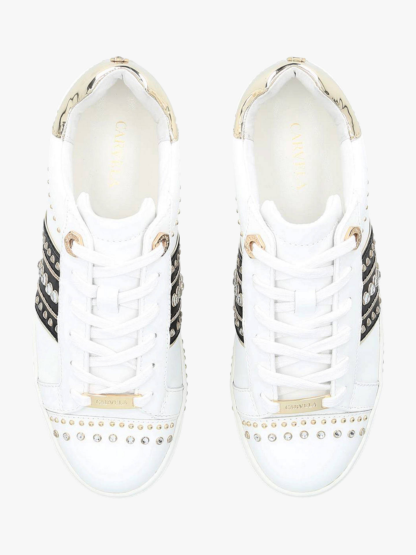 BuyCarvela Larkin Leather Stud Trainers, White/Multi, 3 Online at johnlewis.com