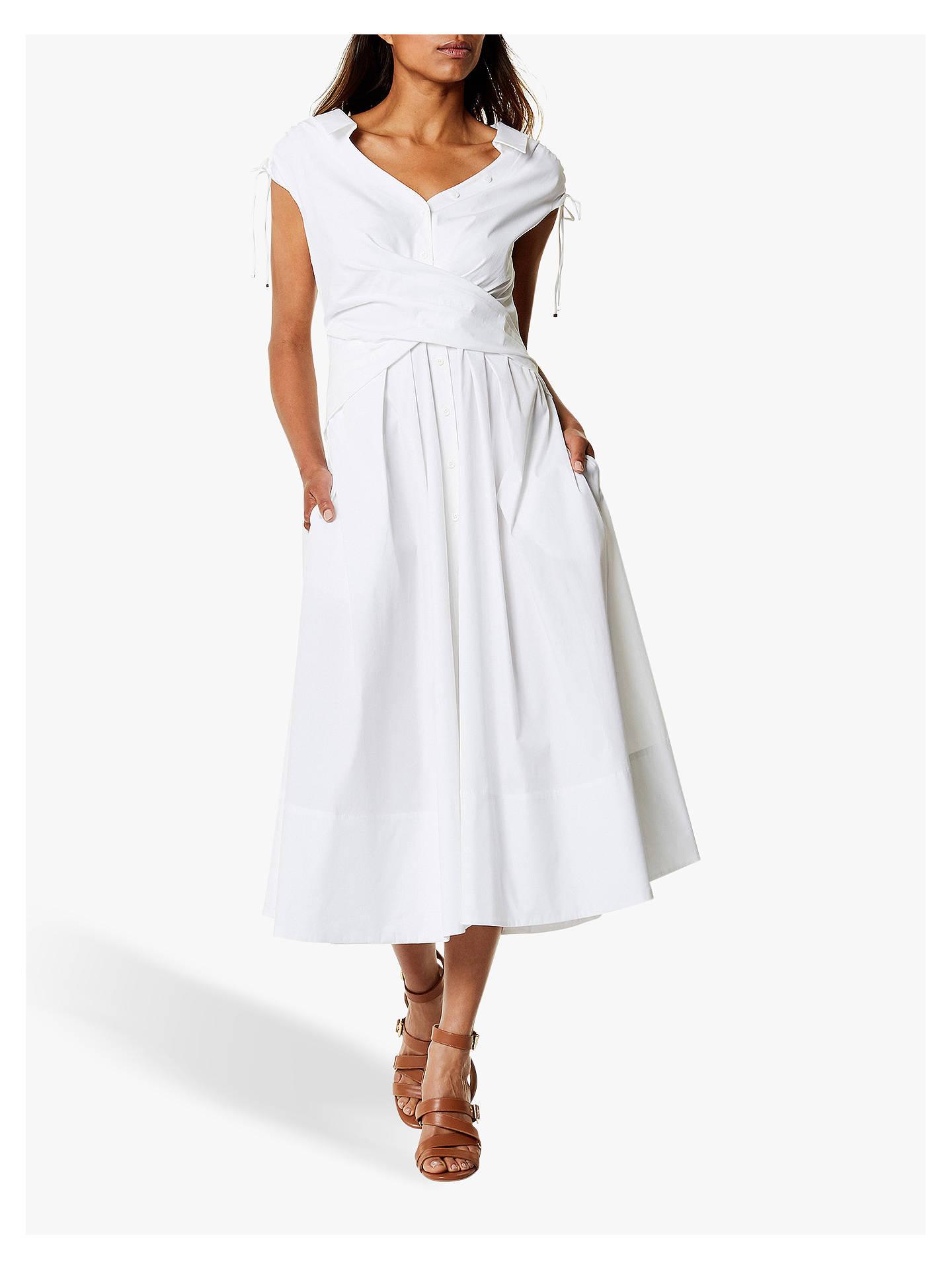 98fbd17940d2 Buy Karen Millen Wrap Shirt Dress, White, 6 Online at johnlewis.com ...