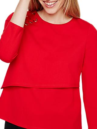 Damsel in a Dress Marla Eyelet Jersey Top, Red