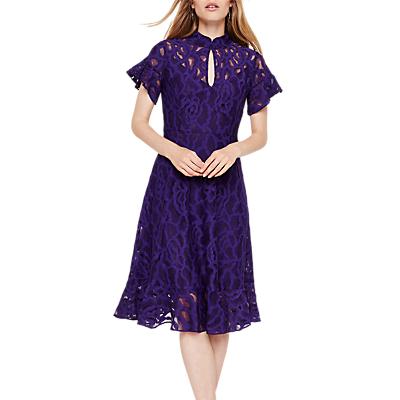 Damsel in a Dress Fluted Hem Lace Overlay Dress, Bright Purple