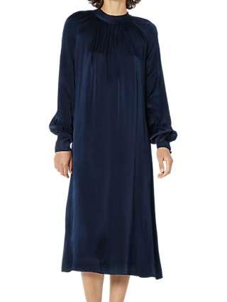 Ghost Ingrid Satin Dress, Navy