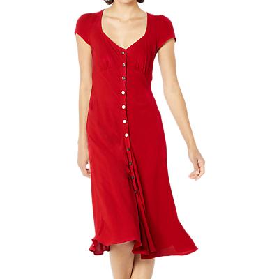 Ghost Leona Button Through Crepe Dress, Chilli Red