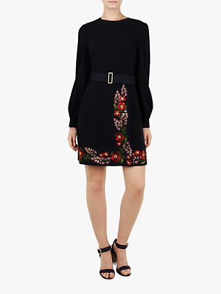 Ted Baker Siliia Kirtstenbosch Embroidered Wrap Dress, Dark Blue