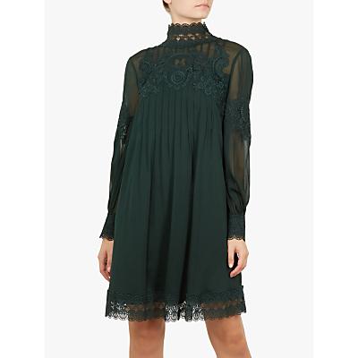 Ted Baker Anneah High Neck Floral Applique Dress, Dark Green