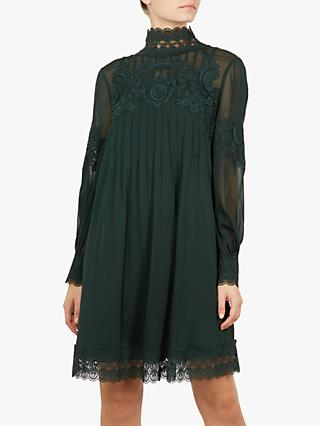 Ted Baker Anneah High Neck Floral Applique Dress, Dark Green
