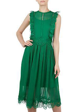 Ted Baker Porrla Frill Lace Midi Dress Green