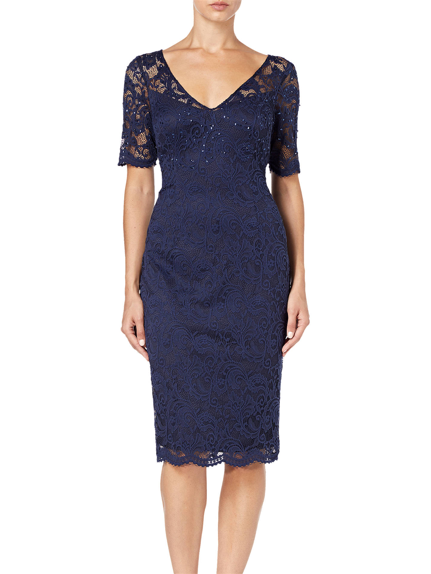 Buy Adrianna Papell Lace Overlay Cocktail Dress, Midnight Blue, 20 Online at johnlewis.com