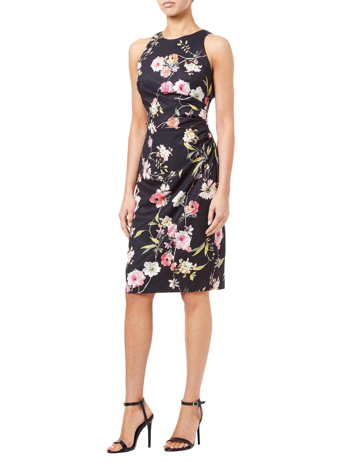 Buy Adrianna Papell Sheath Ruche Floral Dress, Black/Multi, 8 Online at johnlewis.com