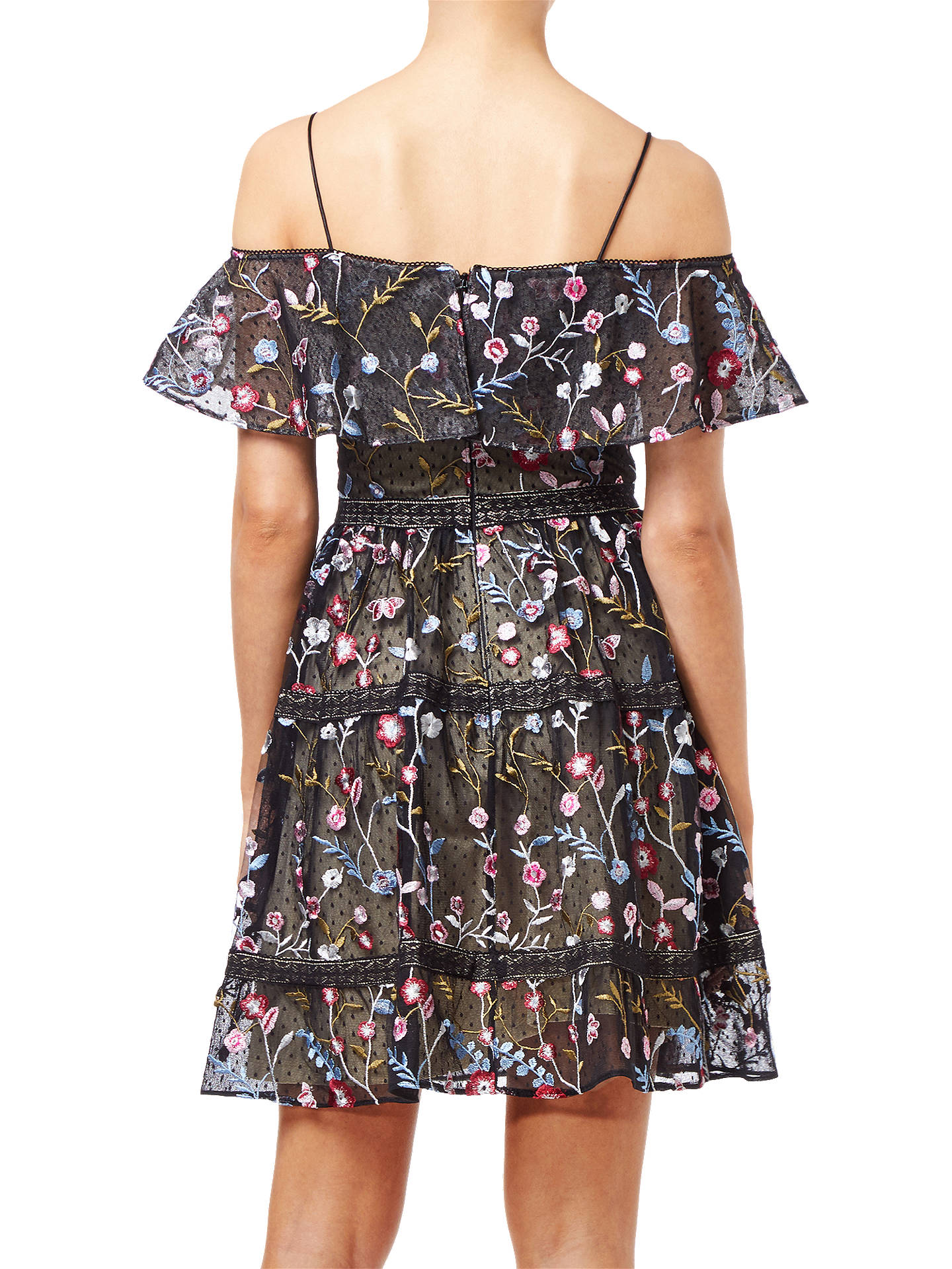 Buy Adrianna Papell Floral Embroidery Party Dress, Black/Multi, 8 Online at johnlewis.com