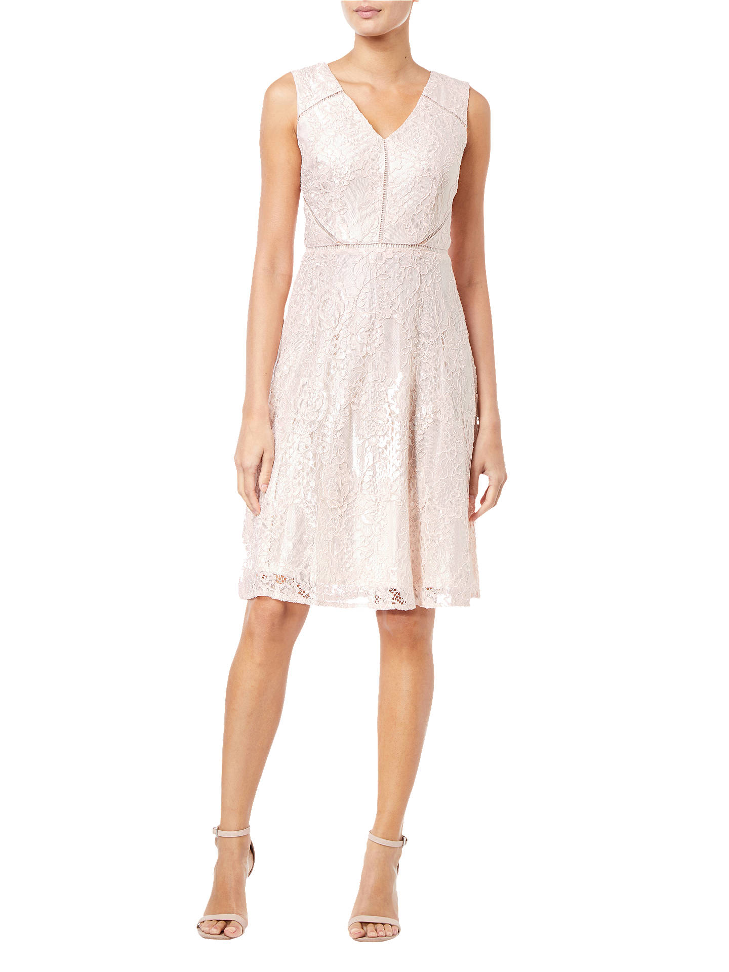 BuyAdrianna Papell Lace Overlay Flared Dress, Blush/Almond, 8 Online at johnlewis.com