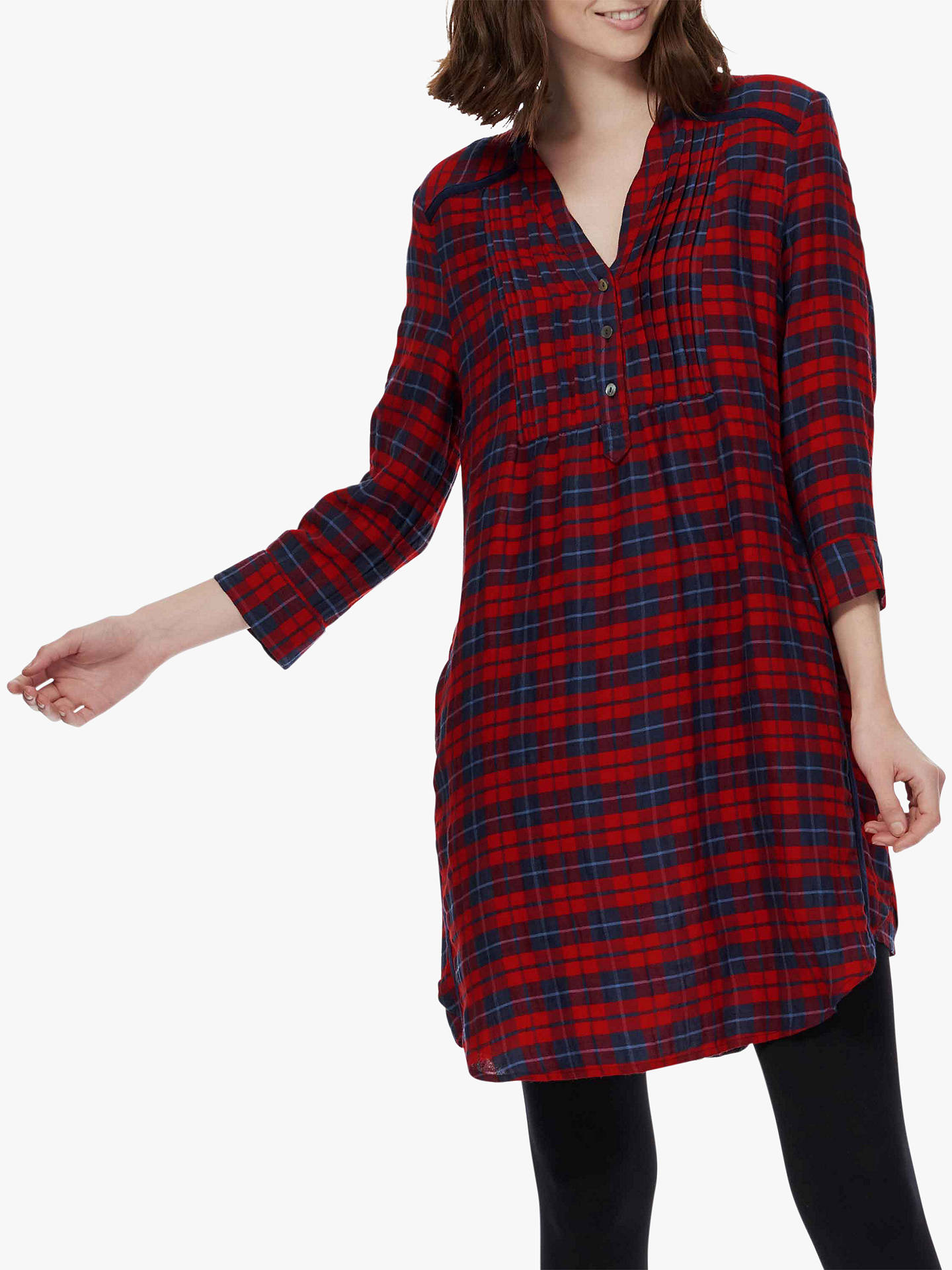 704ed4b6cd399 BuyBrora Plaid Check Pintuck Tunic Dress