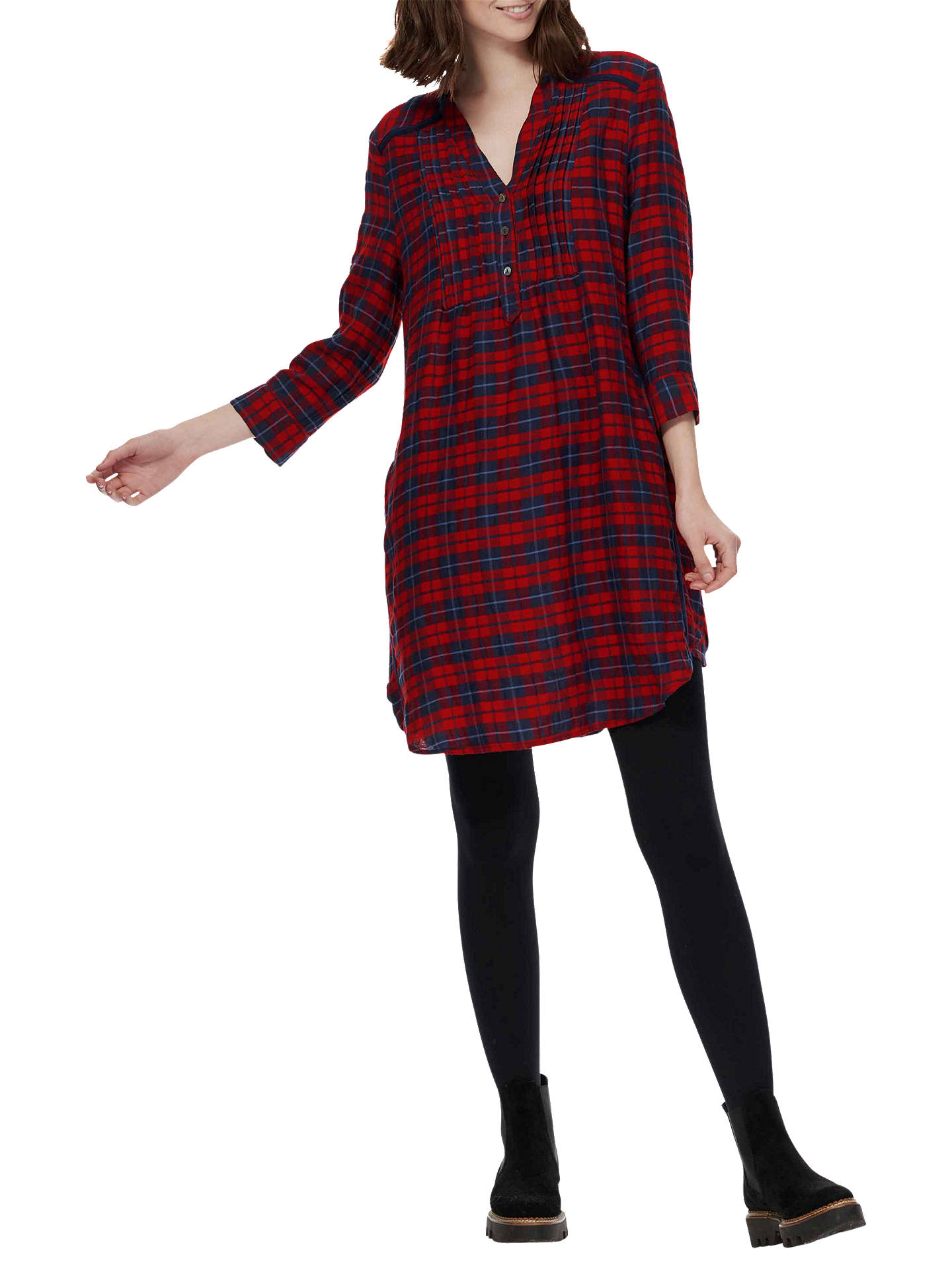 BuyBrora Plaid Check Pintuck Tunic Dress, Navy/Red, 6 Online at johnlewis.com