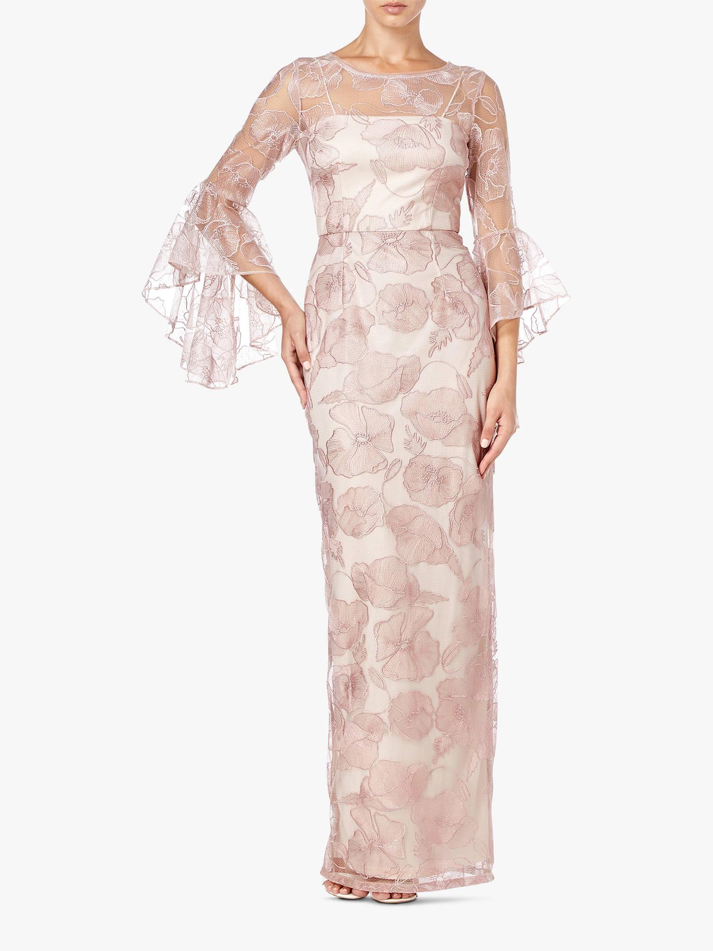 15e9648abc6f Adrianna Papell Embroidered Floral Maxi Dress, Quartz at John Lewis ...