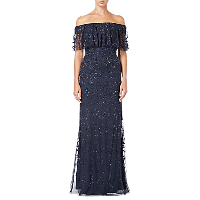 Adrianna Papell Beaded Off Shoulder Dress, Navy