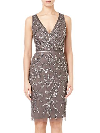 Adrianna Papell Beaded Cocktail Dress, Lead Grey