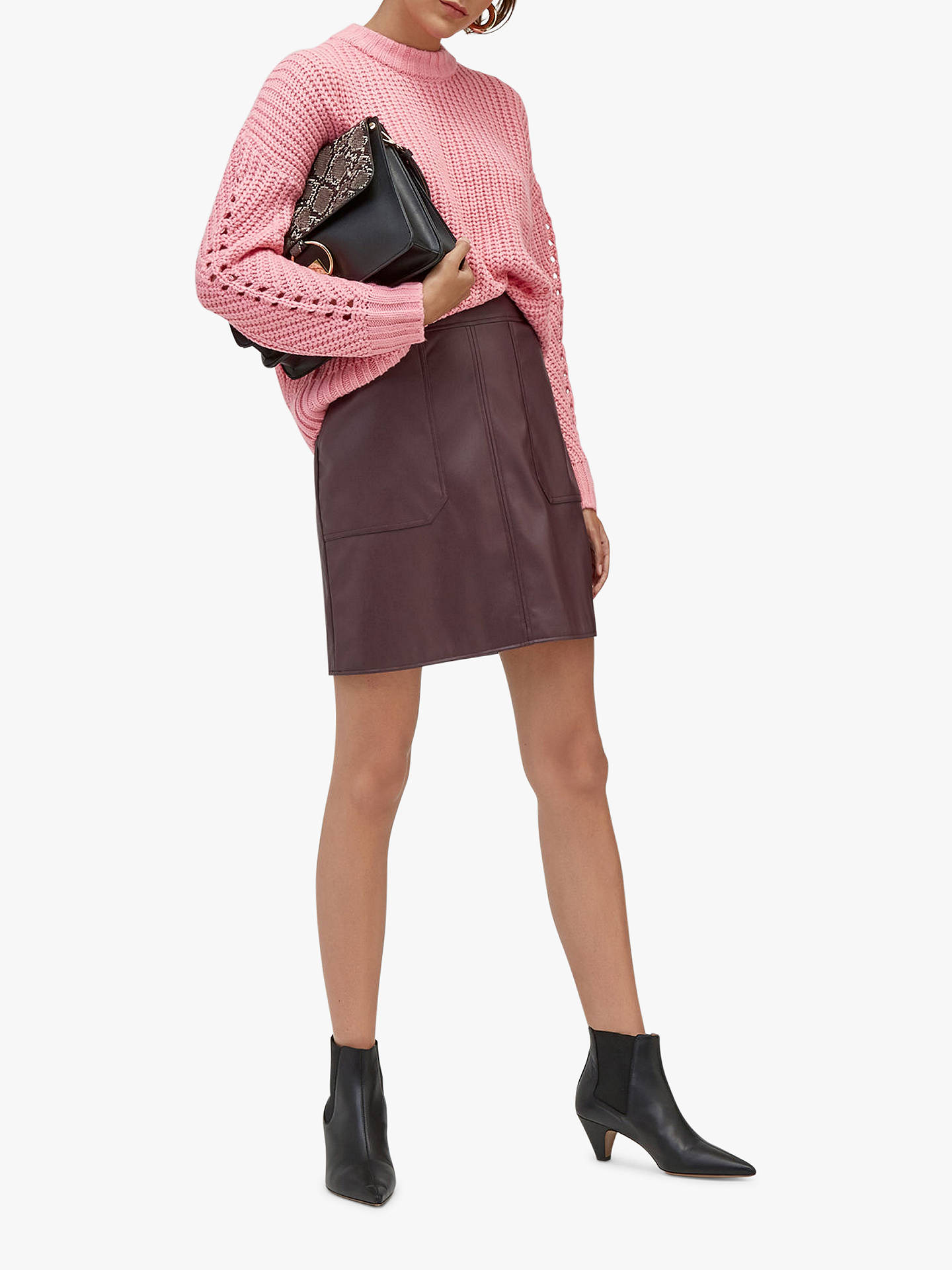 BuyWarehouse Pocket Detail Faux Leather Skirt, Berry, 6 Online at johnlewis.com