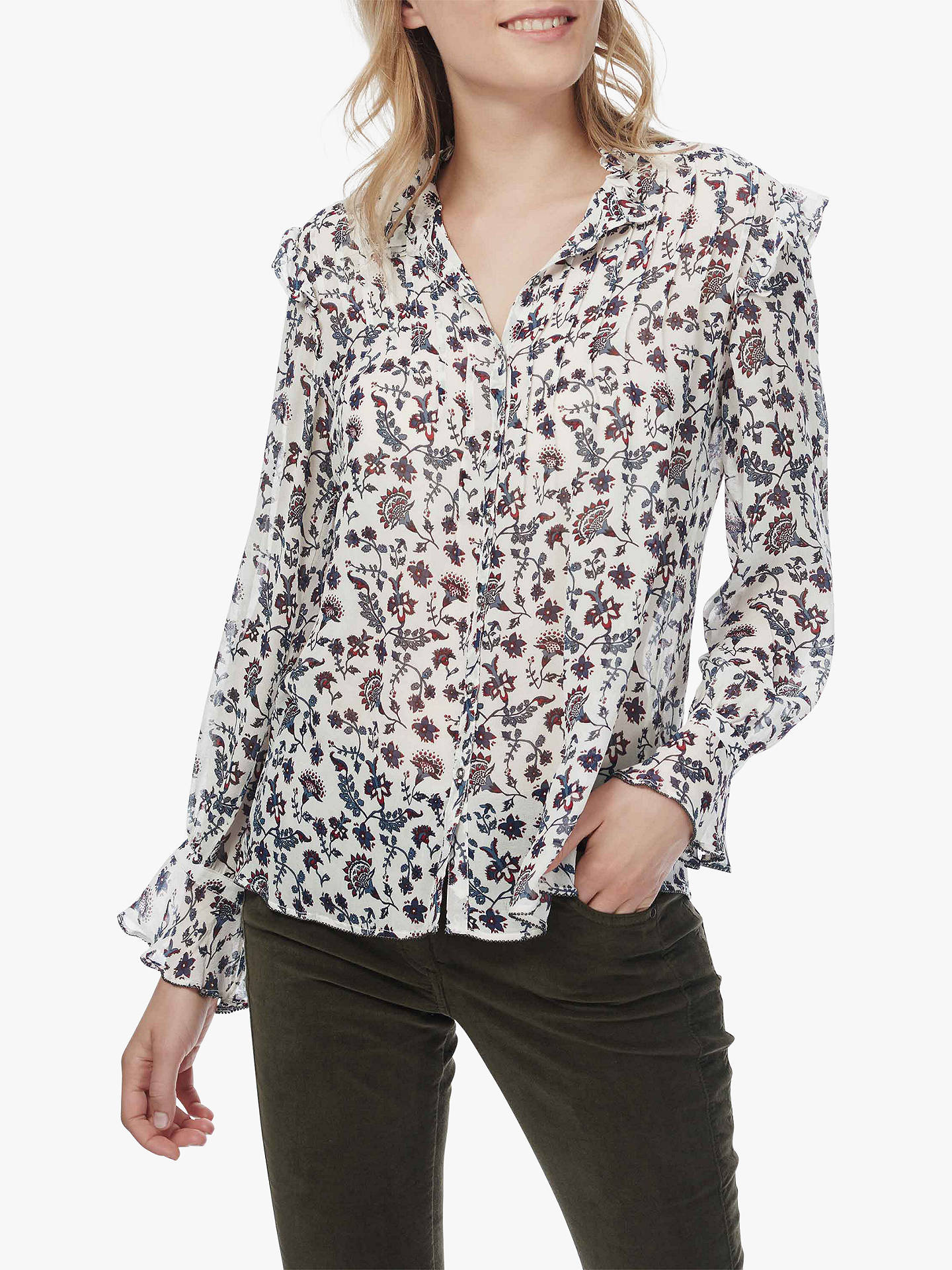 Buy Brora Floral Print Silk Blouse, Ivory/Airforce, 6 Online at johnlewis.com