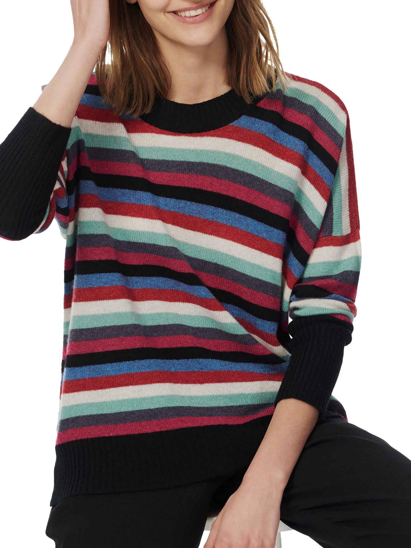 BuyBrora Cash Rainbow Stripe Cashmere Jumper, Multi, S-M Online at johnlewis.com