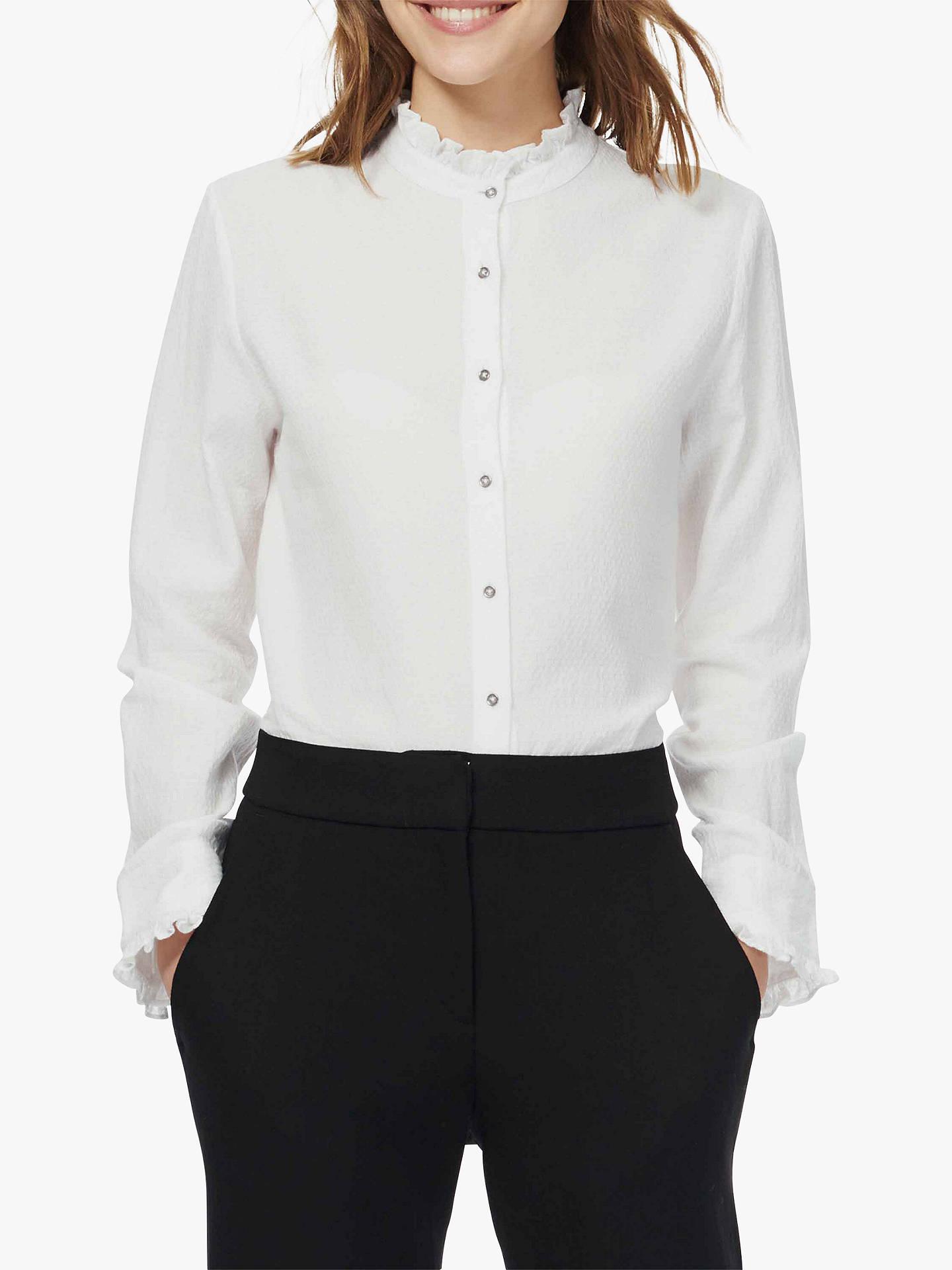 8198f0e88db229 Buy Brora Textured Cotton Frill Shirt, White, 6 Online at johnlewis.com ...
