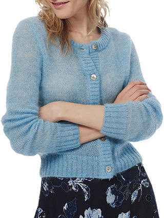 Buy Brora Mohair Round Cardigan, Ice Blue, 16 Online at johnlewis.com