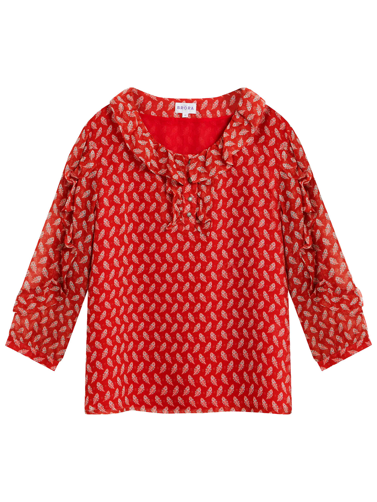 BuyBrora Paisley Silk Blouse, Clay, 6 Online at johnlewis.com