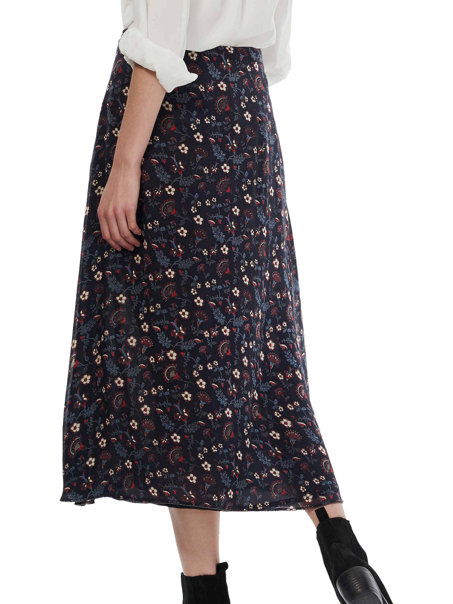 Brora Floral Print Silk Chiffon Skirt, Raven/Ruby at John
