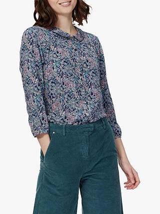 Buy Brora Liberty Print Silk Blouse, Navy Paisley, 6 Online at johnlewis.com