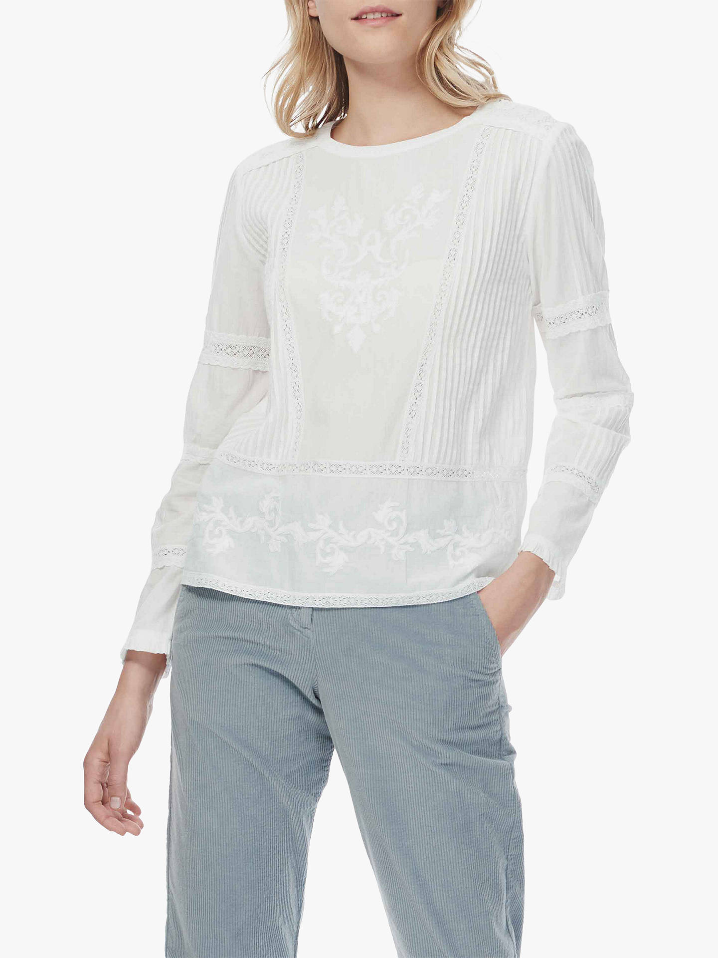 BuyBrora Lace Cotton Blouse, White, 6 Online at johnlewis.com