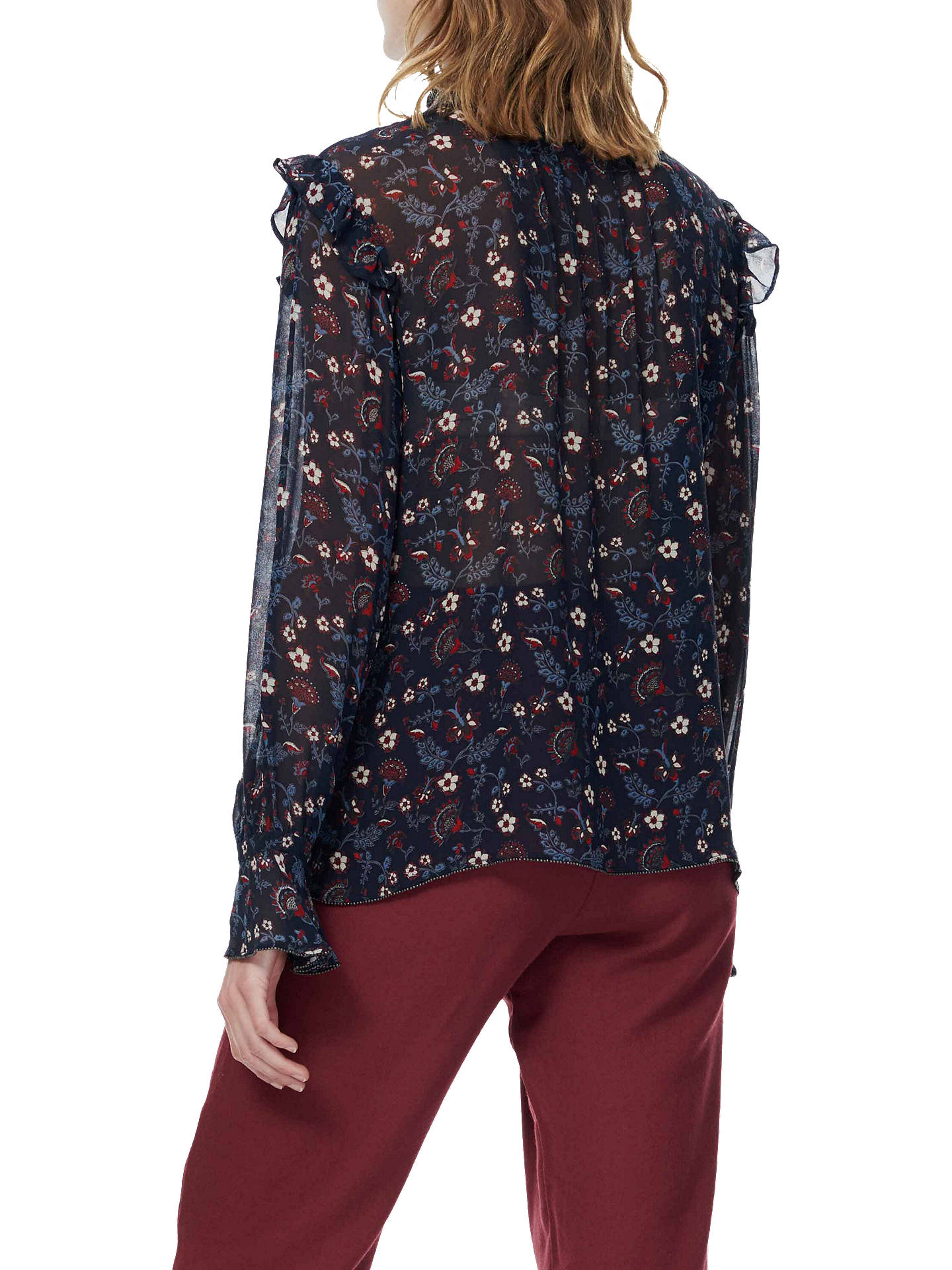 Buy Brora Floral Print Silk Blouse, Raven/Ruby, 6 Online at johnlewis.com