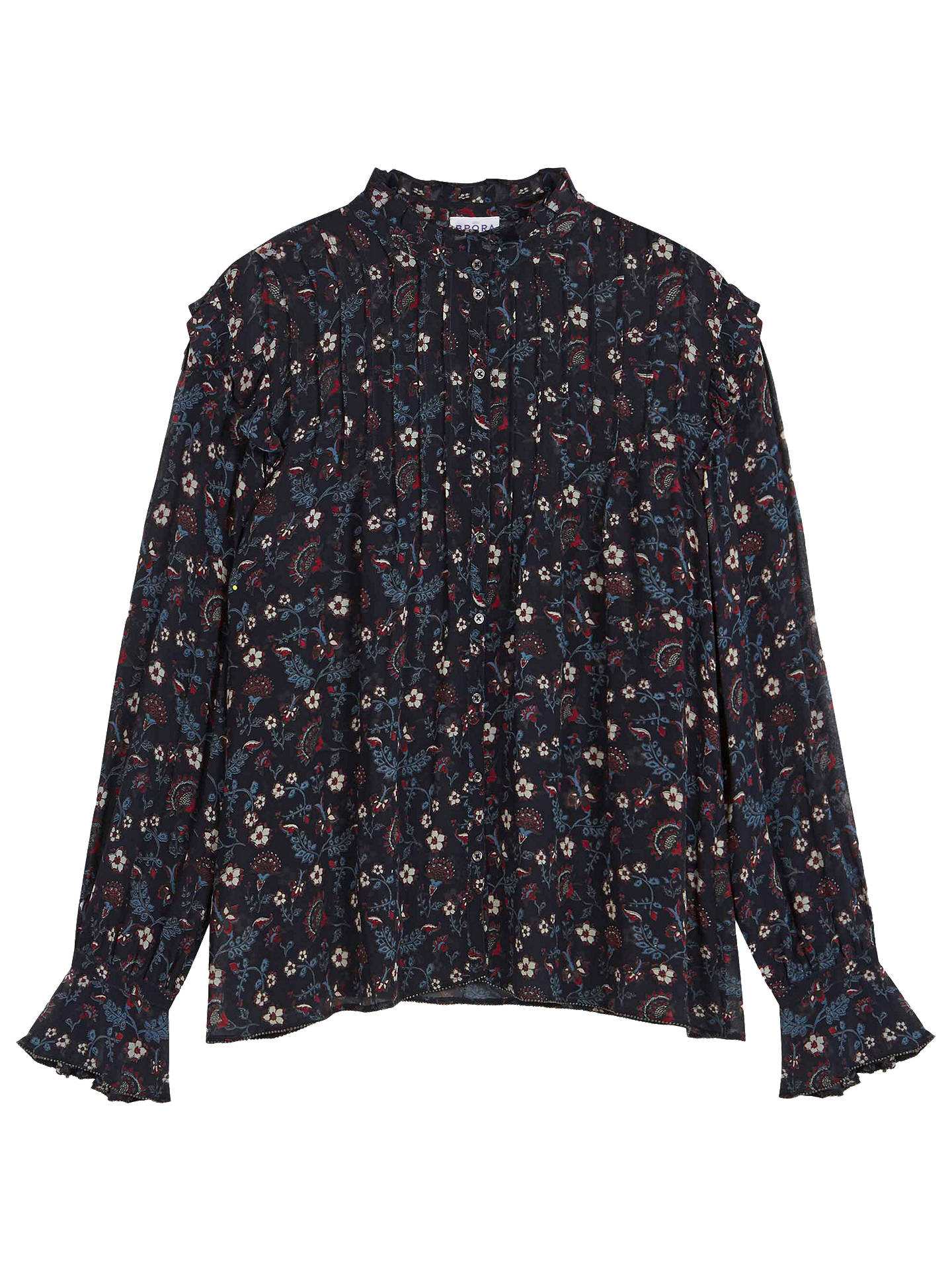 Buy Brora Floral Print Silk Blouse, Raven/Ruby, 18 Online at johnlewis.com